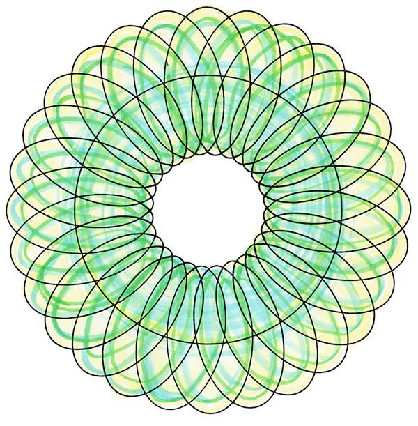 「回転球体素粒子振動波」図形