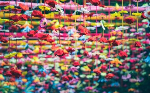 飾り付けされた花々の写真